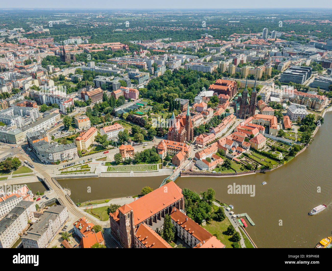 Aerial view of the oldest, historic part of Wroclaw, Poland