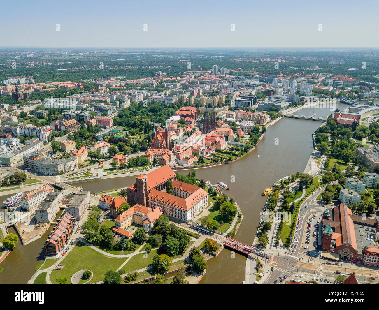 Aerial view of the oldest, historic part of Wroclaw located