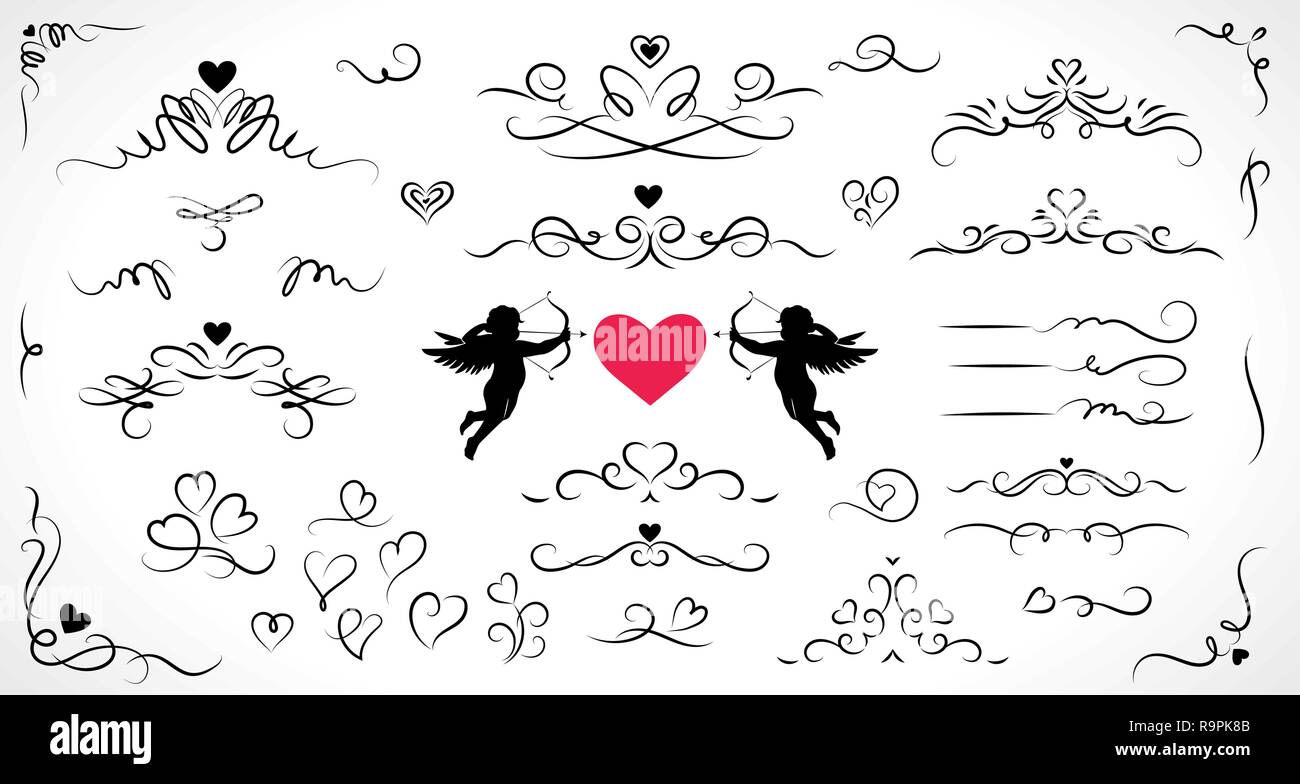 Collection of flourish elements for wedding and Valentine's day decorations. - Stock Image