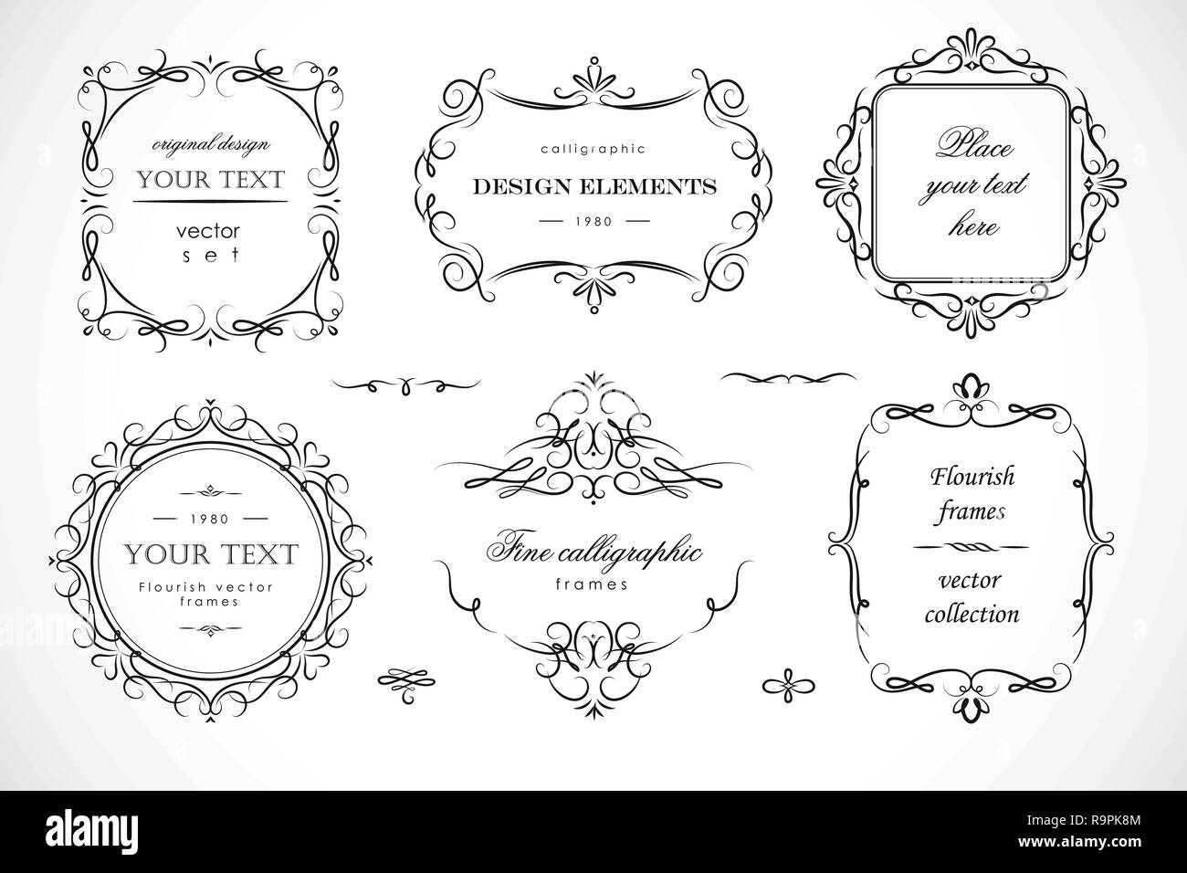 Set of flourish frames, borders, labels. Collection of original design elements. Vector calligraphy swirls, swashes, ornate motifs and scrolls. - Stock Image