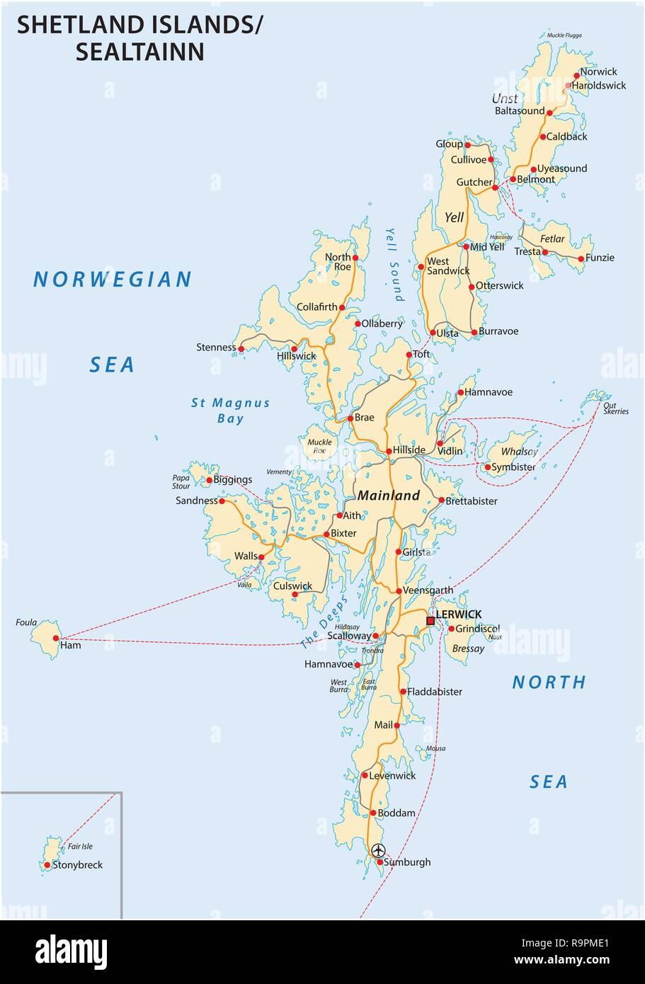 shetland islands road map, Scotland, United Kingdom - Stock Image