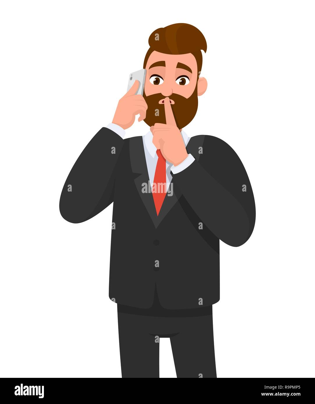 Businessman talking on the cell phone and asking silence. Shh. Keep quiet. Silence please! Silent. Human emotion and body language concept. - Stock Image