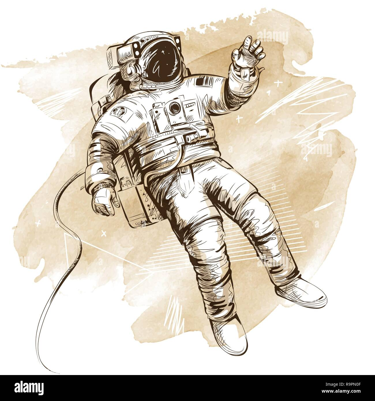 Cosmonaut or astronaut in spacesuit. Hand drawn vector illustration on artistic watercolor background. All elements isolated. - Stock Image
