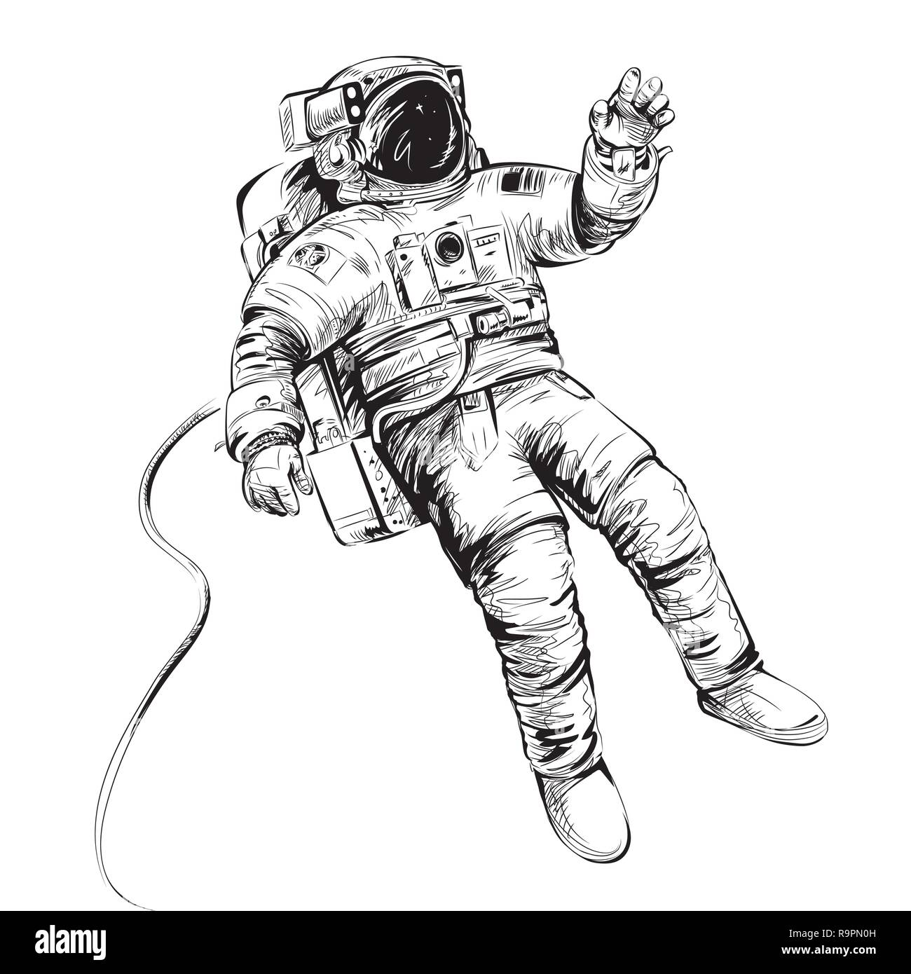 Cosmonaut or astronaut in spacesuit. Vector illustration isolated on white. - Stock Image