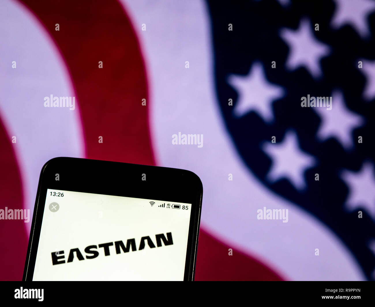 Eastman Chemical Company logo seen displayed on smart phone Stock