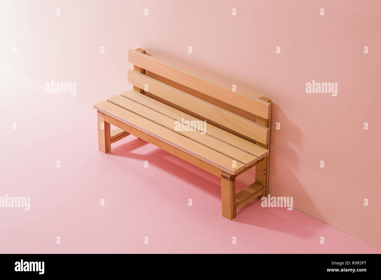 Fine A Wooden Bench Miniature Pink Two Tone Background Stock Pdpeps Interior Chair Design Pdpepsorg