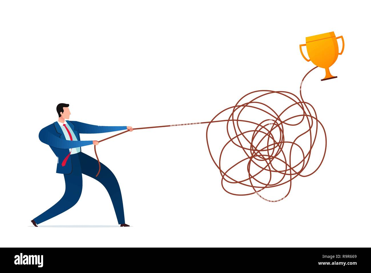 Businessman untangle the rope to find a solution. Business concept illustration. - Stock Vector