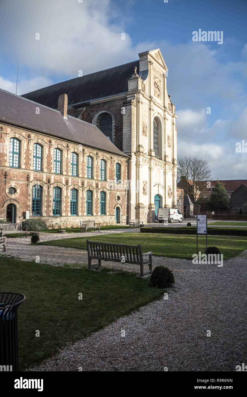 Douai (Hauts-de-France) : The museum. Montmorency wing (Flemish style,Renaissance and the Old Church ,Classic early 18th century) - Stock Image