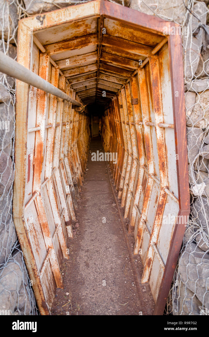 Looking down a bunker in Israel's Tel Saki fortifications, site of a battle in the Yom Kippur War - Stock Image