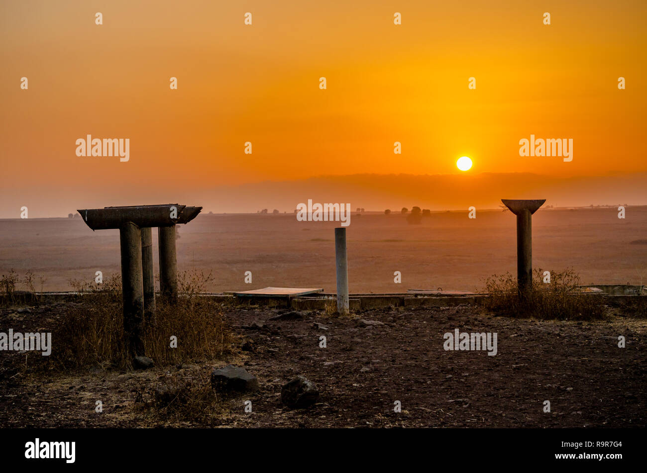 Periscopes of the Tel Saki fortifications from the Yom Kippur War in Israel at sunset - Stock Image