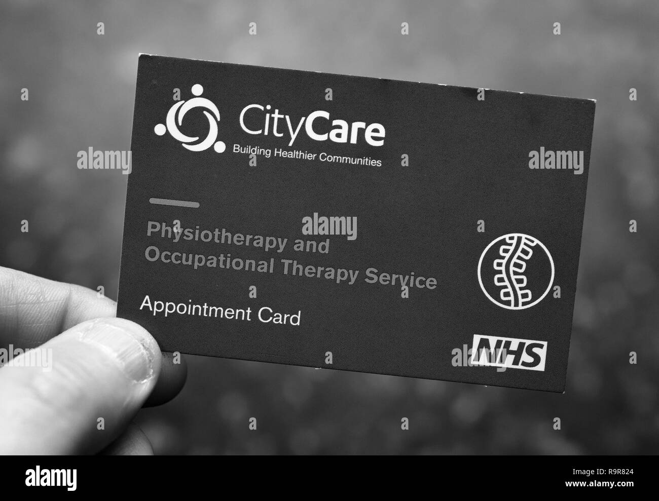 Appointment card for physiotherapy - Stock Image