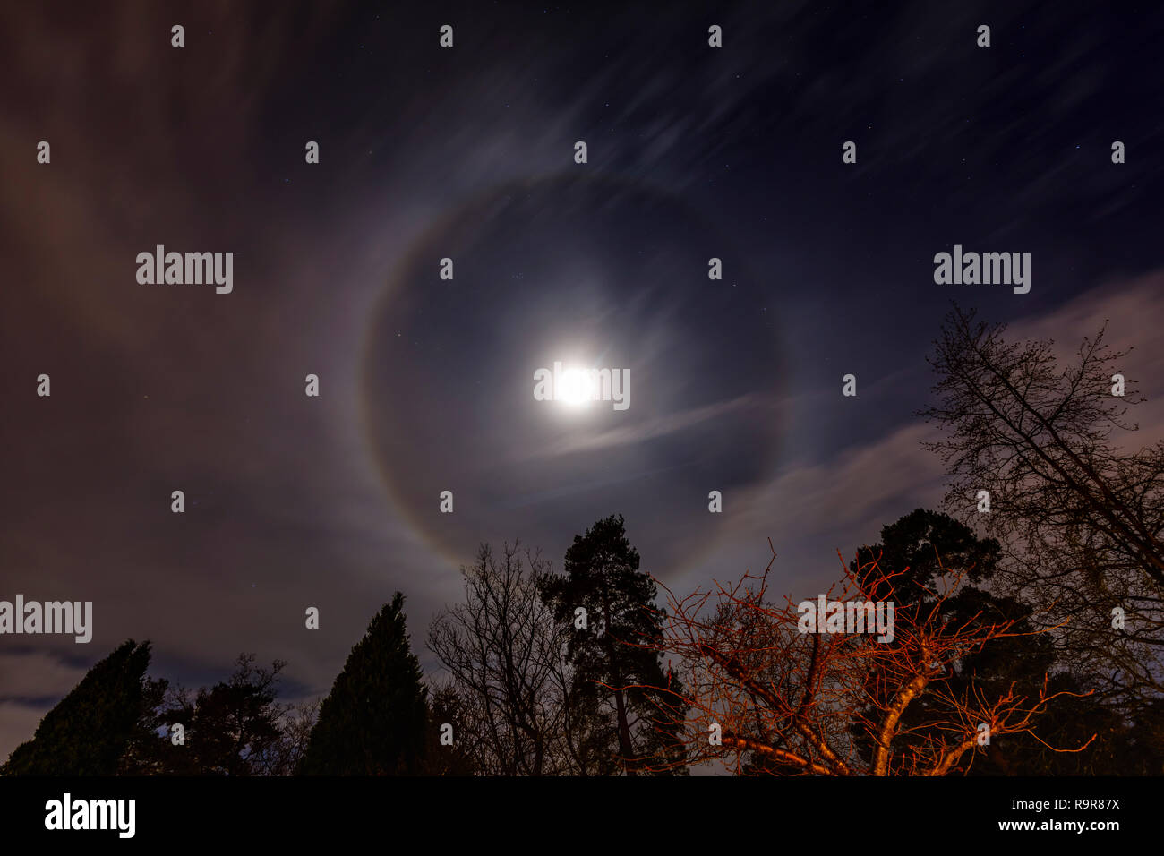 Circular lunar corona around the Moon in waxing gibbous phase,the night sky viewed from south-east England, UK in winter - Stock Image