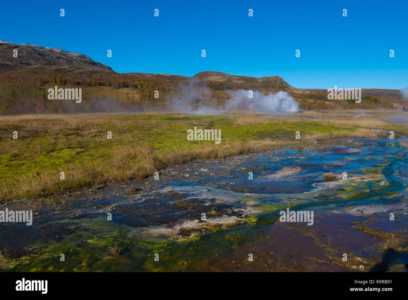 Haukadalur, the geysers, geothermal, Strokkur, hot springs, mud pots and fumaroles - Stock Image