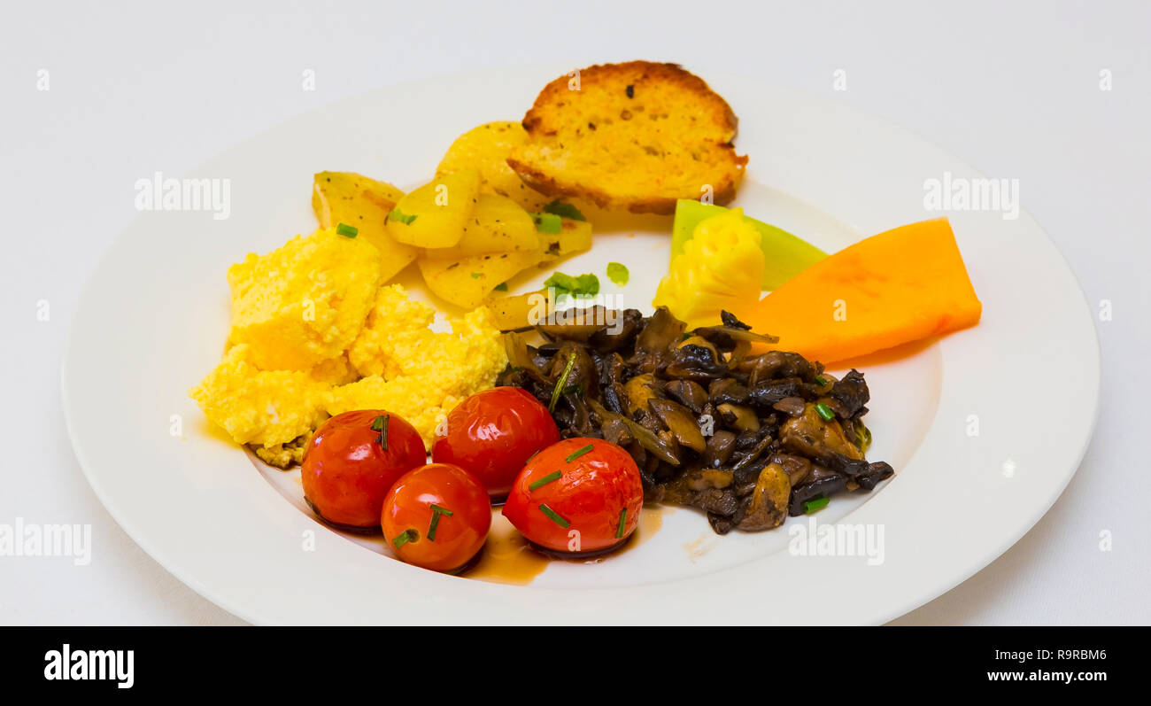 Breakfast Brunch mixed plate at Spring Festival picnic event - Stock Image