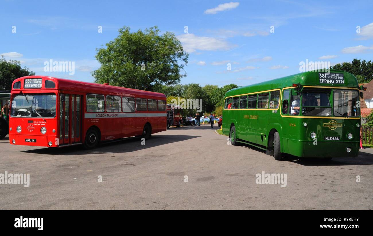 1970 AEC Swift (left) and 1953 AEC Regal IV (right) at the Epping Ongar Railway 2017 Vintage Vehicle Rally, North Weald Station, Essex, UK. - Stock Image