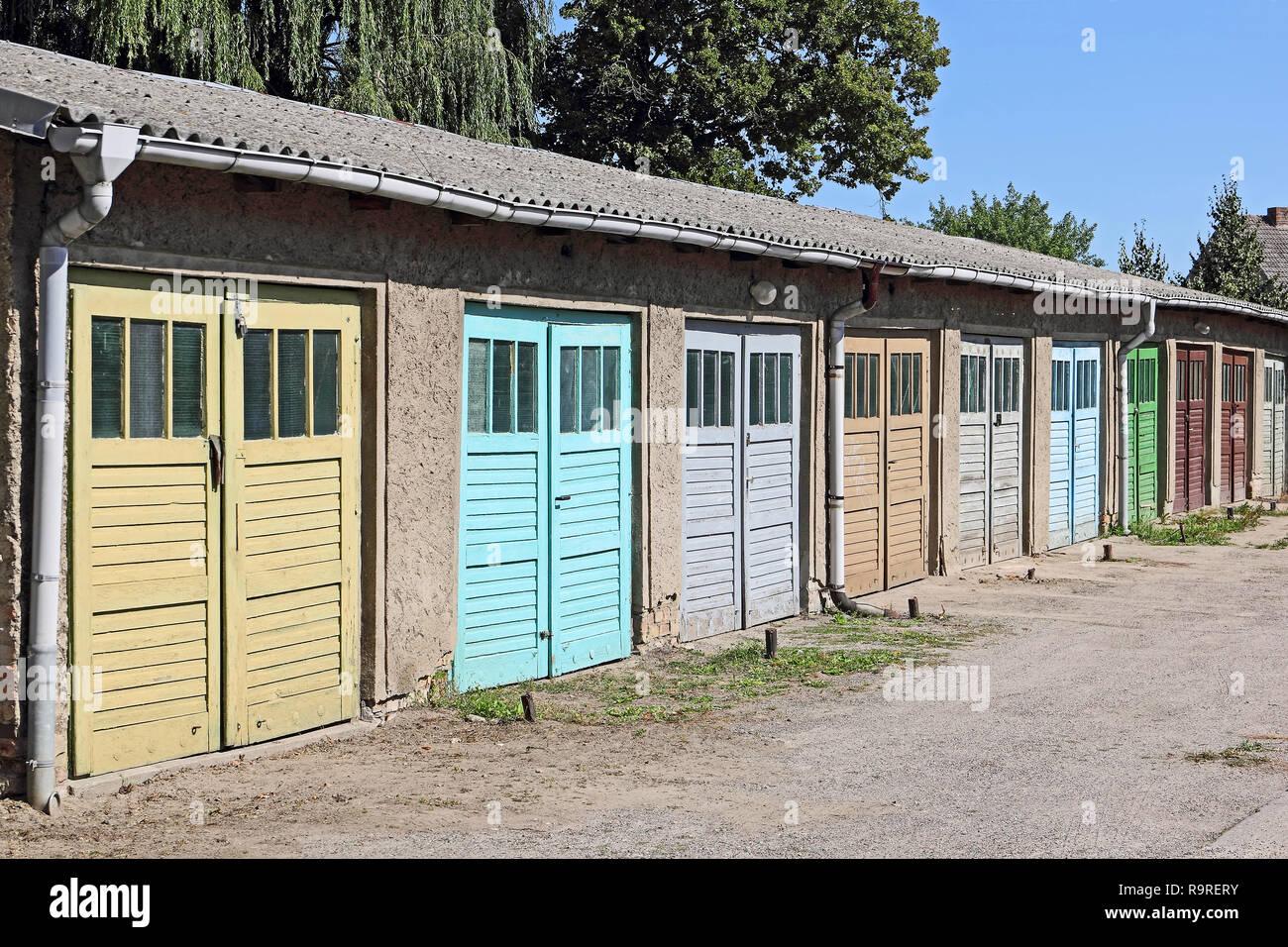 Colour-ful garage doors - Stock Image