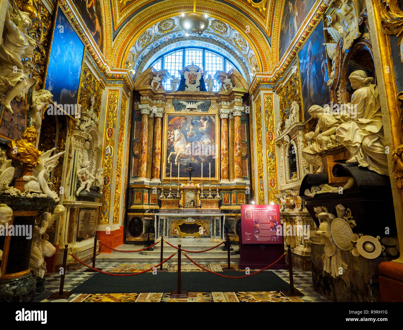 The chapel of the langue of Aragon, Catalonia and Navarre in St John's Cathedral - Valletta, Malta Stock Photo