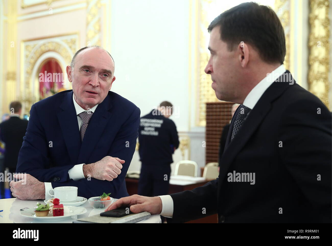 Moscow, Russia. 27th Dec, 2018. MOSCOW, RUSSIA - DECEMBER 27, 2018: Russia's Chelyabinsk Region Governor Boris Dubrovsky (L) and Sverdlovsk Region Governor Yevgeny Kuivashev at a State Council meeting on the development of volunteering and socially oriented NGOs, at the Moscow Kremlin. Dmitry Astakhov/Russian Government Press Office/TASS Credit: ITAR-TASS News Agency/Alamy Live News - Stock Image