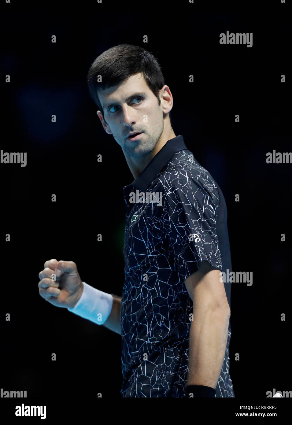 (181228) -- BEIJING, Dec. 28, 2018 (Xinhua) -- File photo taken on Nov. 17, 2018 shows Novak Djokovic of Serbia reacts during the singles semifinal match against Kevin Anderson of South Africa during the 2018 Nitto ATP World Tour Finals in London, Britain. After returning from injuries, the 31-year-old Djokovic won two Grand Slams at the Australia Open and the US Open and his first Cincinnati Masters championship, completing a career golden masters by bagging all nine ATP 1000s Masters trophies. He finished the season as ATP world No. 1, becoming the first player to return to glory after finis - Stock Image
