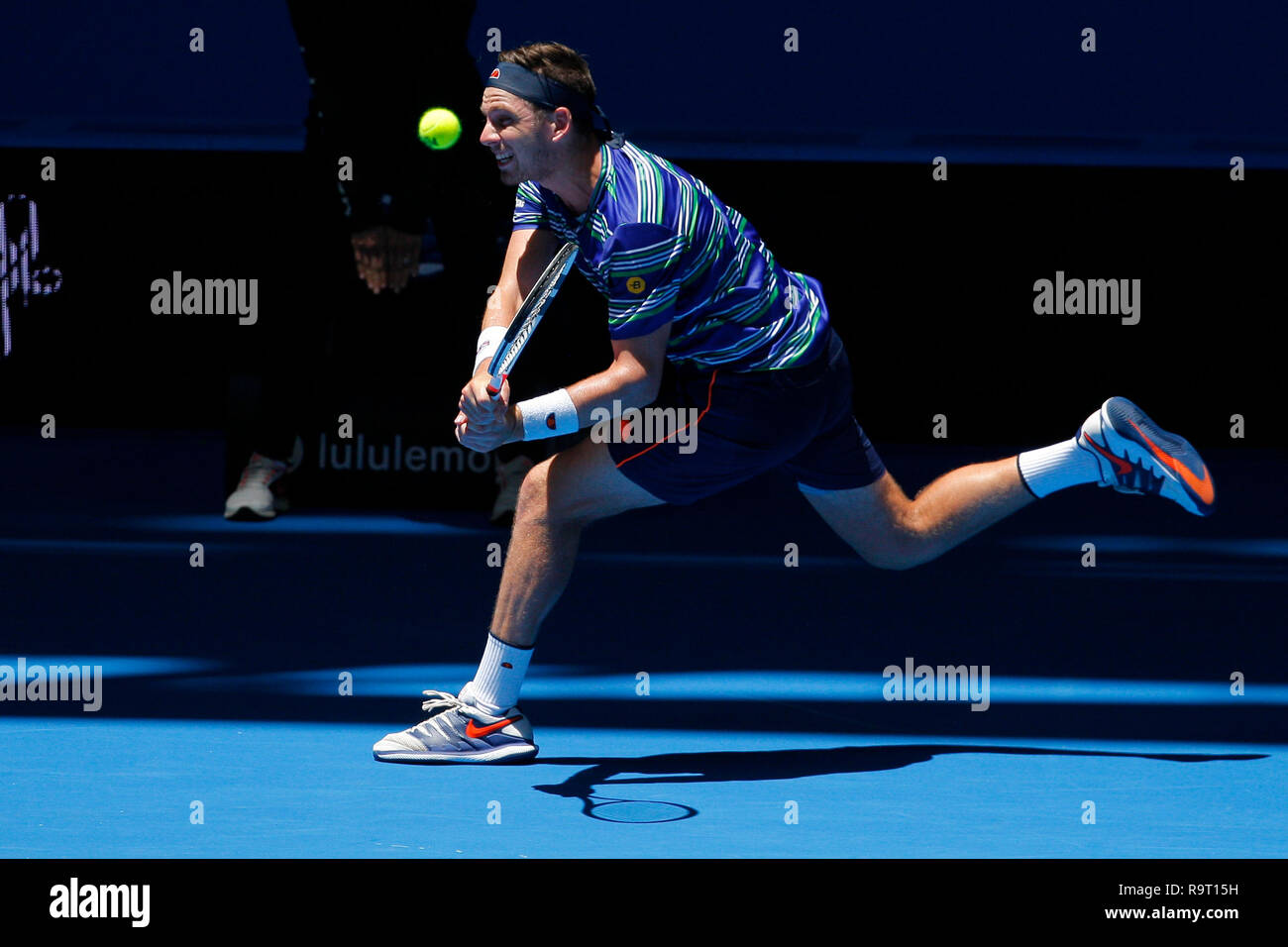 RAC Arena, Perth, Australia. 29th Dec, 2018. Hopman Cup Tennis, sponsored by Mastercard; Cameron Norrie of Team Great Britain plays a running backhand shot against Stefanos Tsitsipas of Team Greece Credit: Action Plus Sports/Alamy Live News - Stock Image