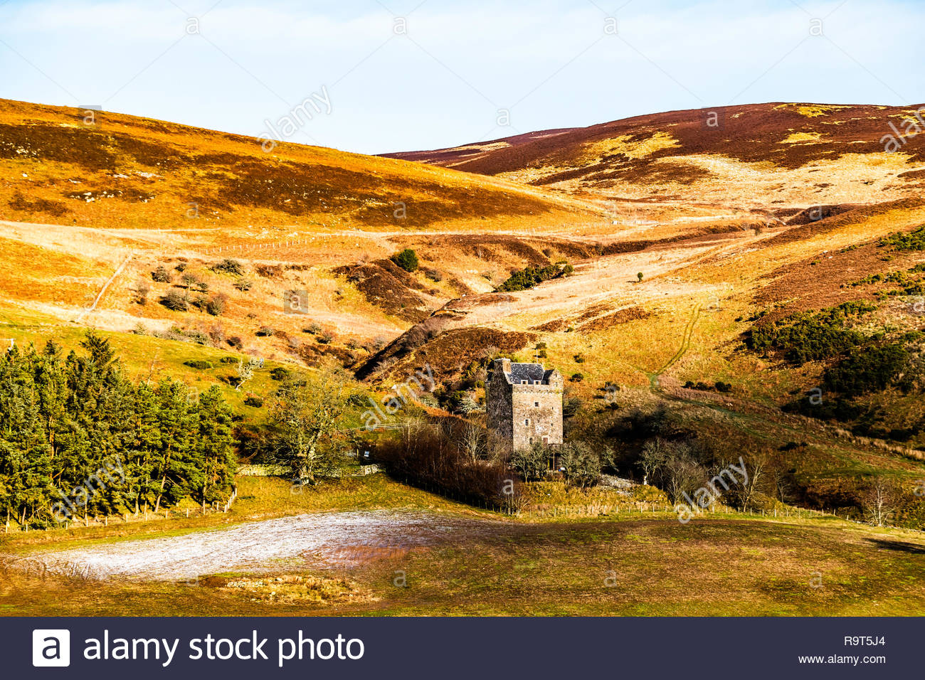 Ettrick, Selkirk, Scottish Borders, UK. 16th December 2018. Kershope Tower near Ettrick on a frosty December day. The Pele Tower, circa 16th century,  - Stock Image