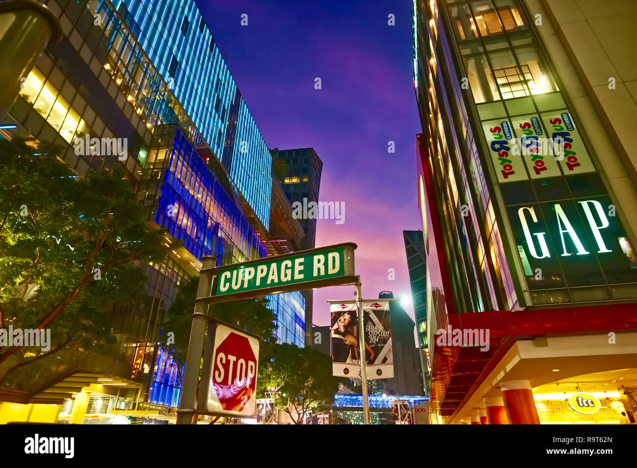 Shopping malls in luxury shopping street Orchard Road at corner Cuppage Road, shortly after sunset, Singapore [C] - Stock Image