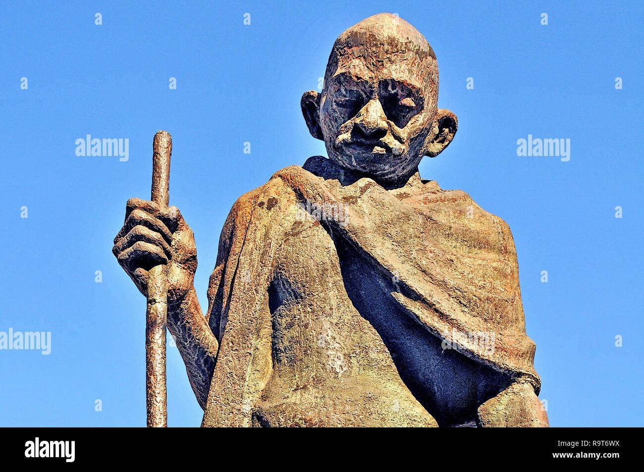 Mahatma Gandhi statue , Praça Mahatma Gandhi, Rio de Janeiro, Brazil - Stock Image