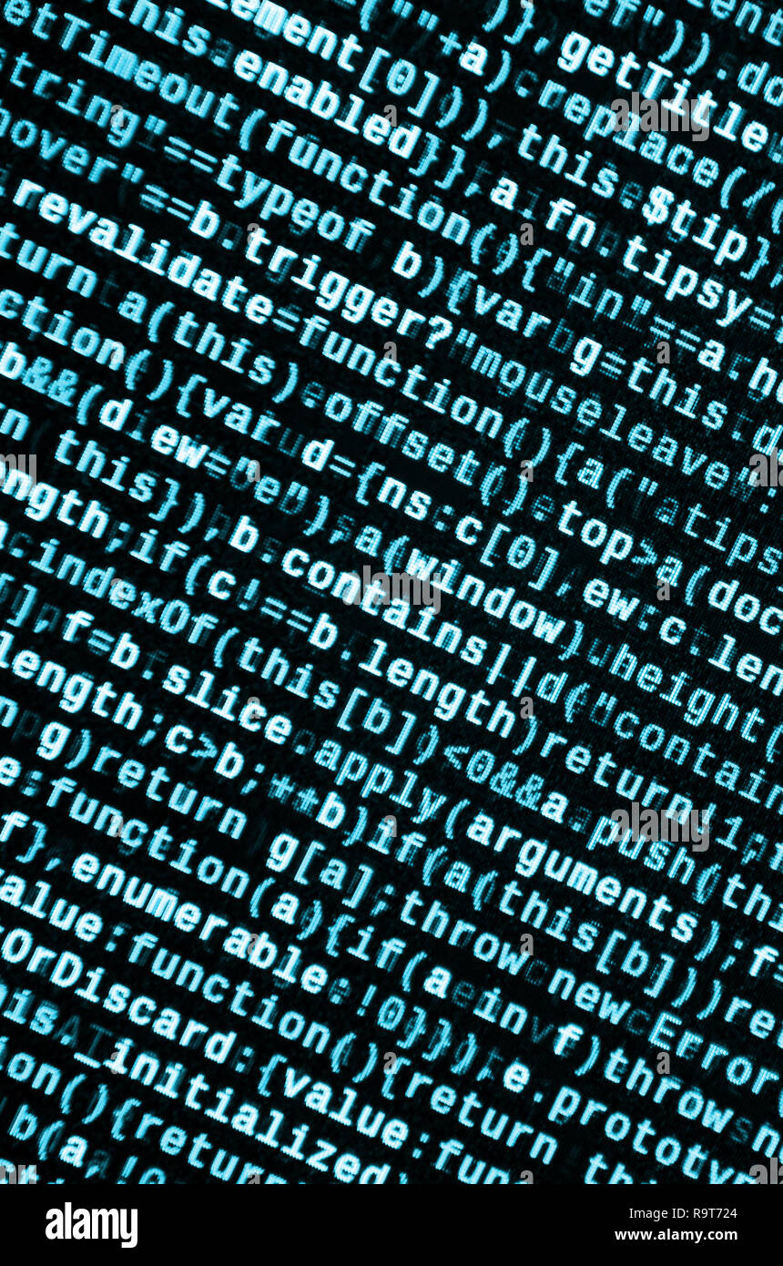 Javascript functions, variables, objects. Monitor closeup of function source code. IT specialist workplace. Big data and Internet of things trend. HTM - Stock Image