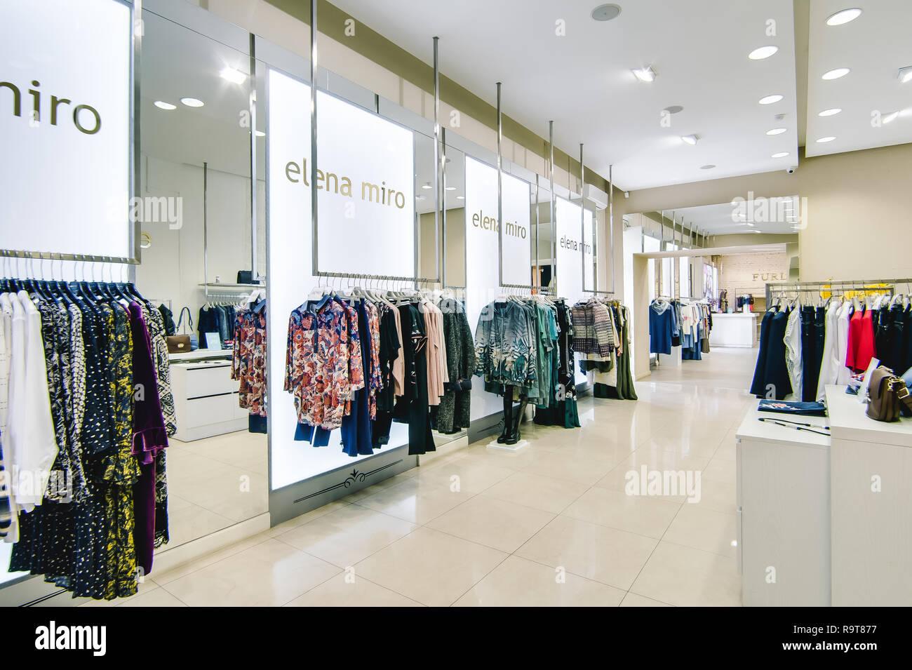 7b6edc8f9d72 Russia, Novosibirsk - April 25, 2018: interior of women's clothing and  accessories store boutique EMPORIO · Evgeniy Kleymenov / Alamy Stock Photo
