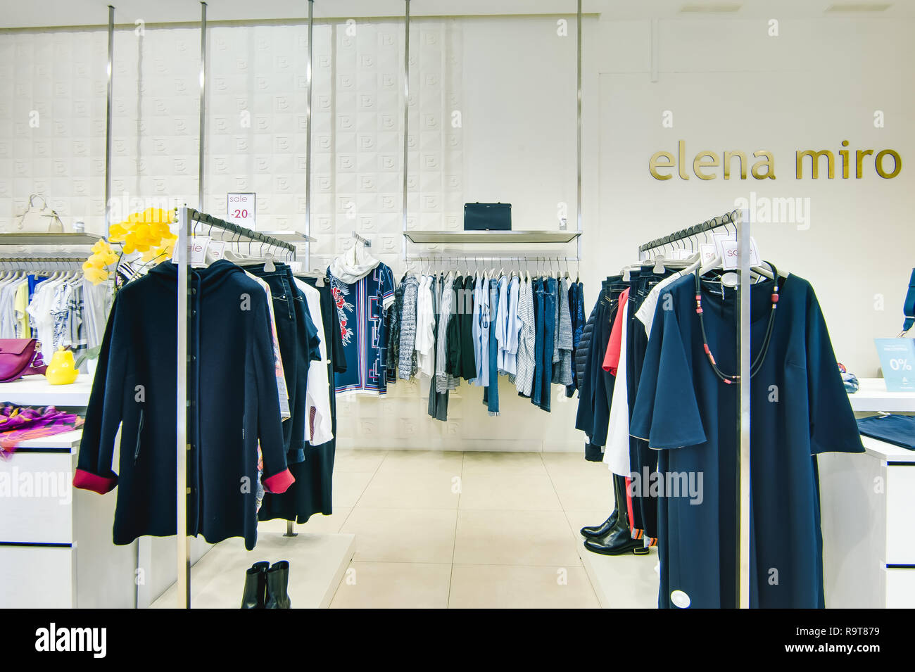 7a302f278c6 Russia, Novosibirsk - April 25, 2018: interior of women's clothing and  accessories store boutique EMPORIO · Evgeniy Kleymenov / Alamy Stock Photo
