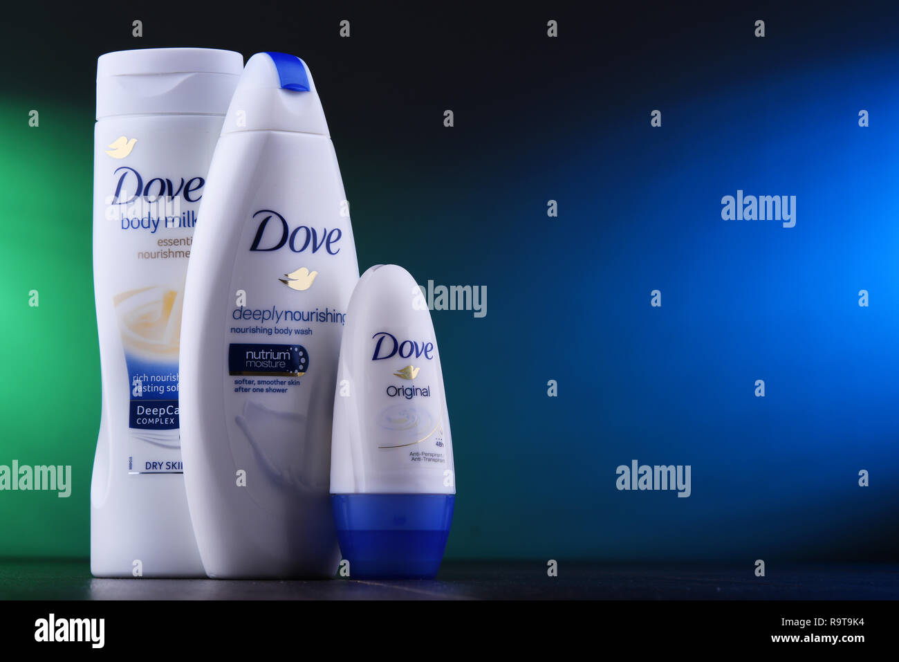 POZNAN, POL - DEC 5, 2018: Dove products. Introduced to the British market in 1955, Dove is a personal care brand, now owned by Unilever and sold in m - Stock Image