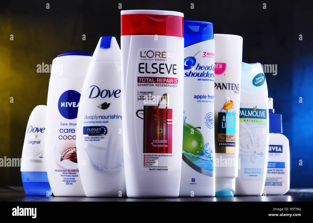 POZNAN, POLAND - DEC 5, 2018: Plastic containers of body care products including widely available most popular global brands as LOreal, Nivea, Dove, P - Stock Image