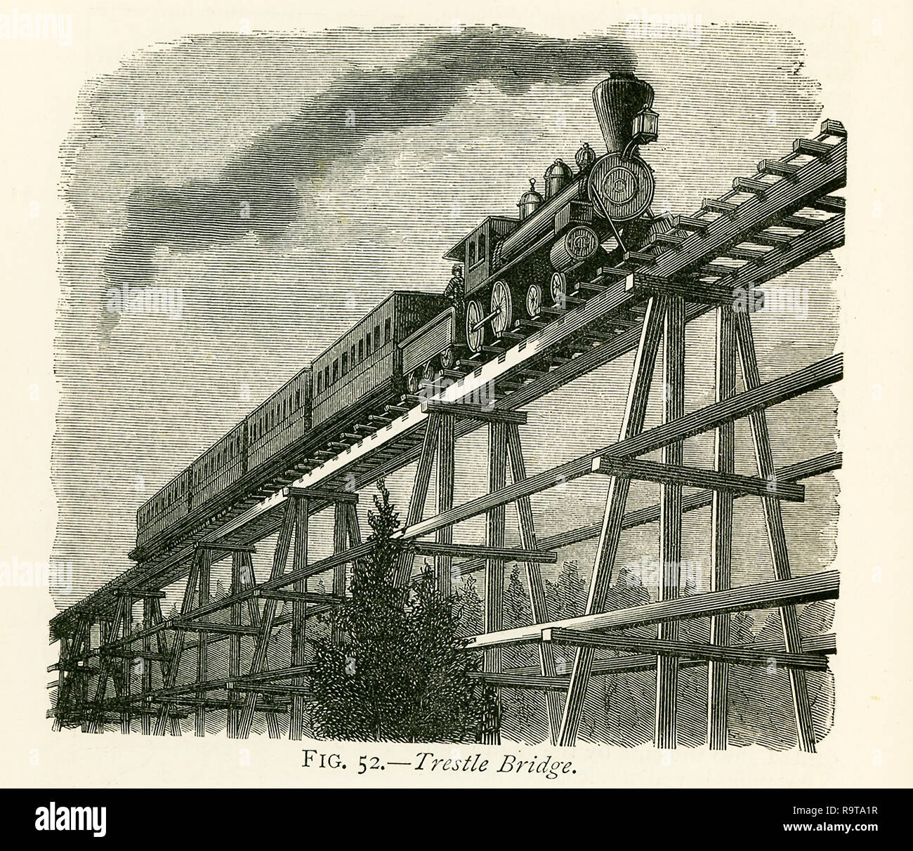 This illustration dates to the 1870s and shows a trestle bridge that is part of the rail line of the Great Pacific railway - the transcontinental railway. At Sherman, 549 miles from Omaha, the line attains the summit of its track over the Black Hills, and the highest point on any railway in the world (in the 1870s), being 8,242 ft. above the level of the sea. Wild and desolate scenery characterizes the district round Sherman, and the hills, in places covered with a dense growth of wood, will furnish an immense supply of timber for years to come. The timber-sheds erected over the line, and the  - Stock Image