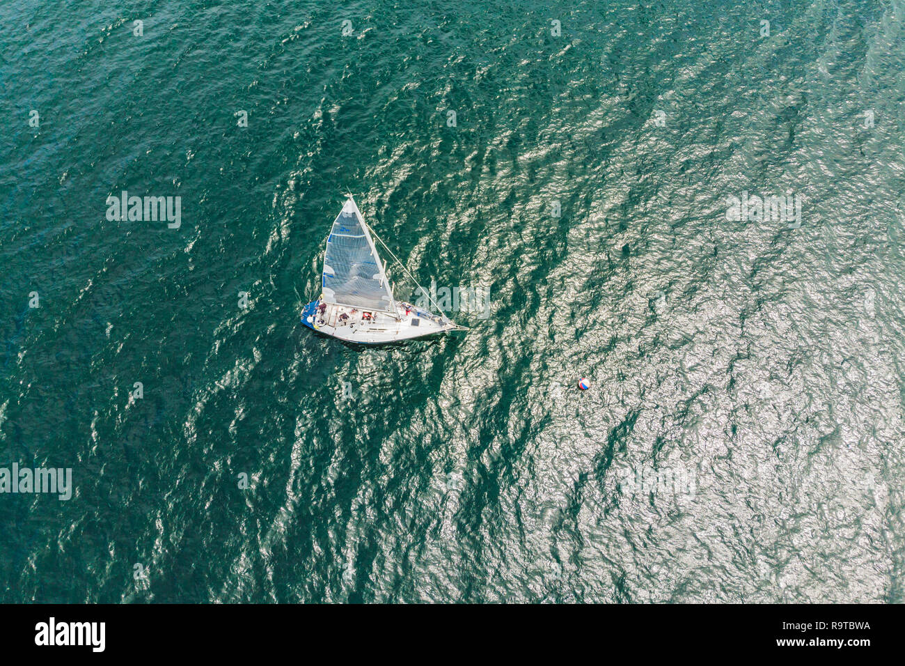 Sailing yachts regatta. Series yachts and ships. photo from drone - Stock Image
