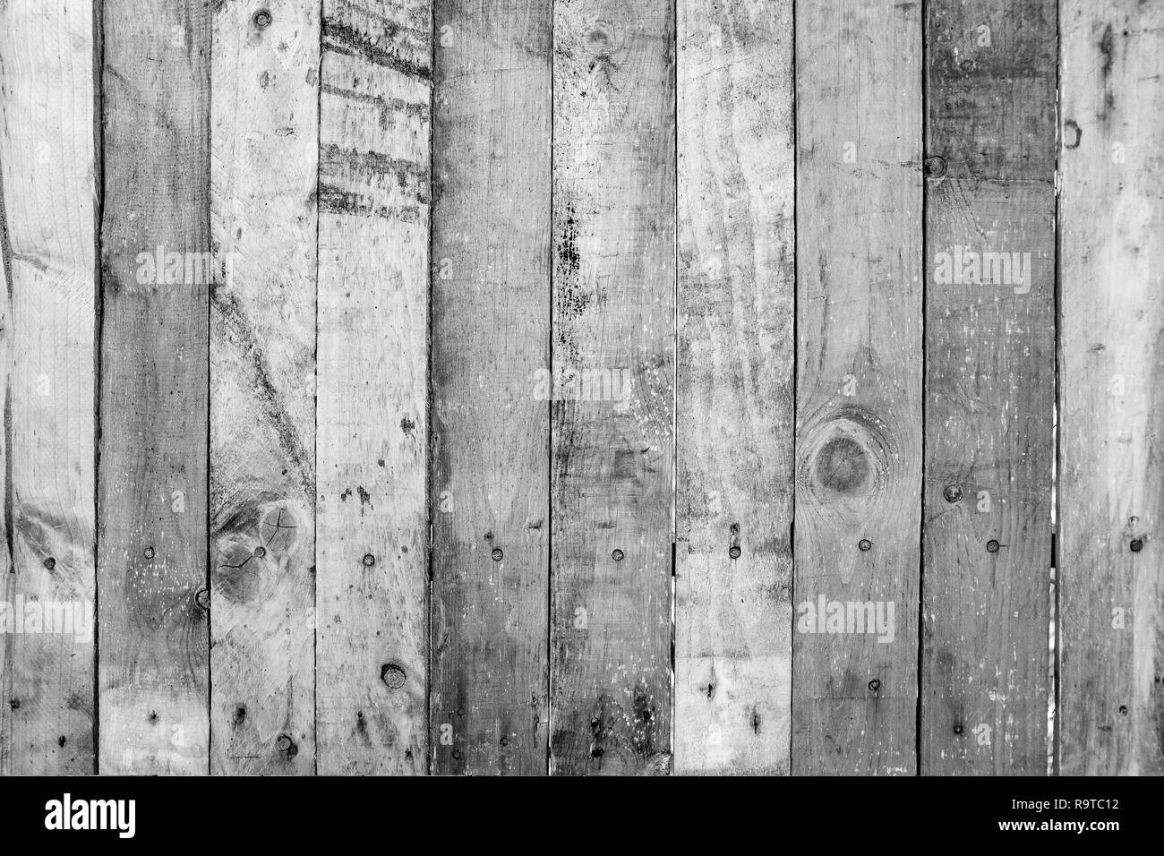 Black and White of old wood planks wall with scratched, dirty and rustic on textured surface. Abstract nature background. - Stock Image