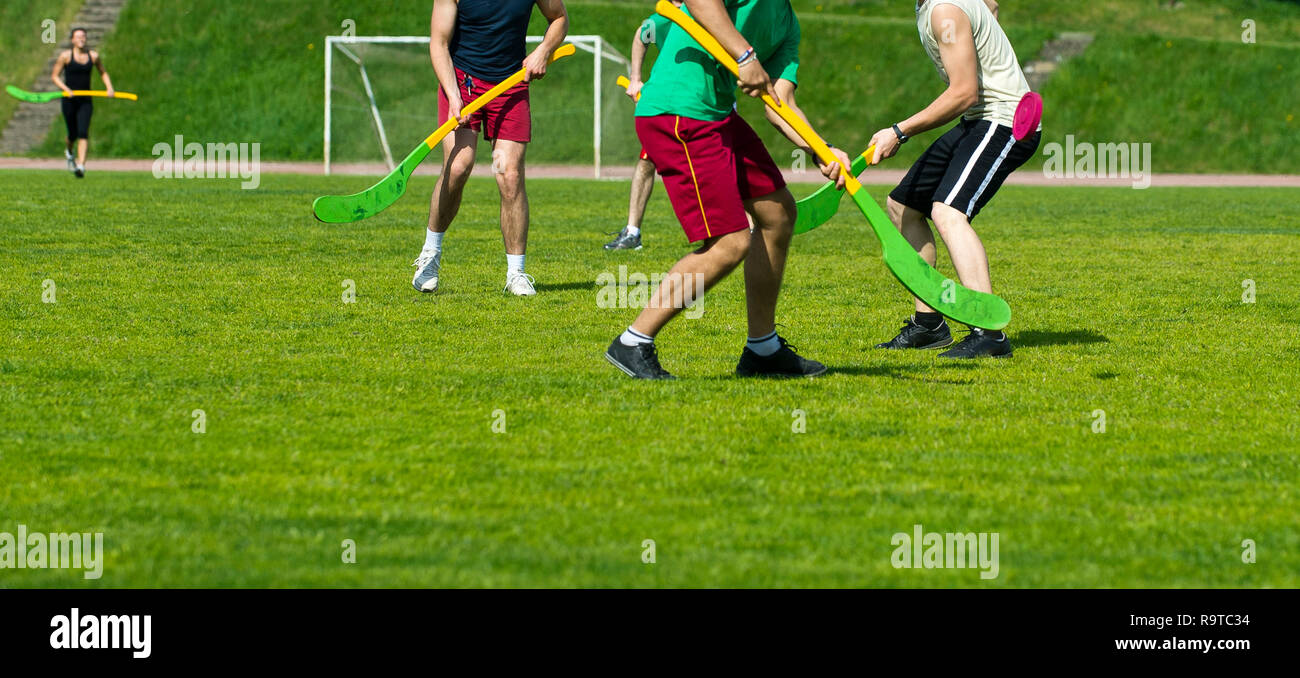 Traditional lithuanian sports Ripka. Team sport - Stock Image
