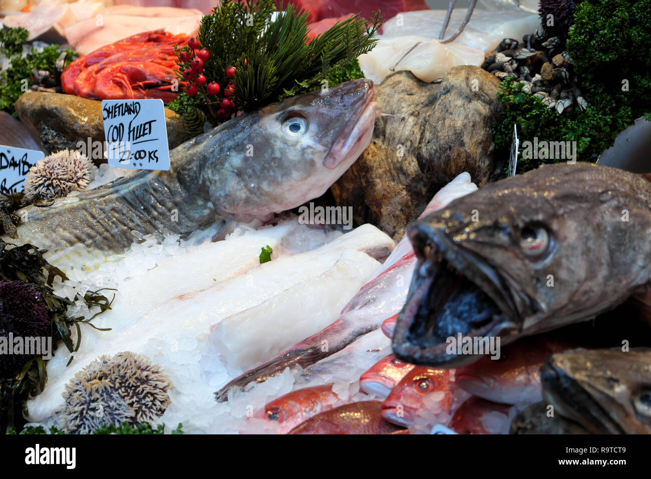 Borough Market London fish stall selling fresh Shetland Cod Fillet, Senegalese Red Snapper and Monkfish on ice South London England UK  KATHY DEWITT Stock Photo