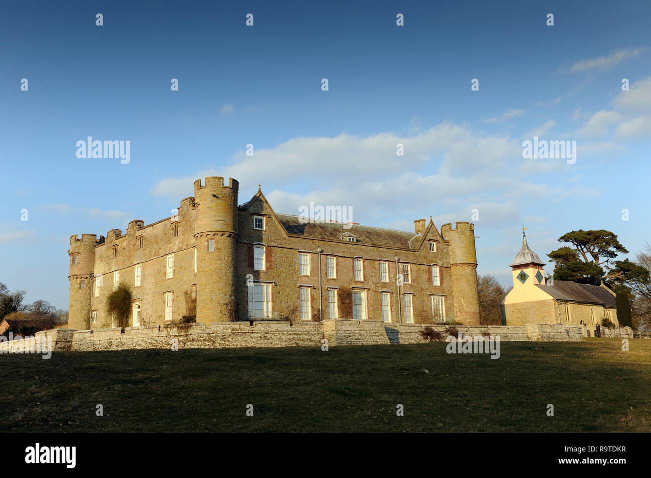 Croft Castle in Herefordshire England Uk photographed from footpath - Stock Image