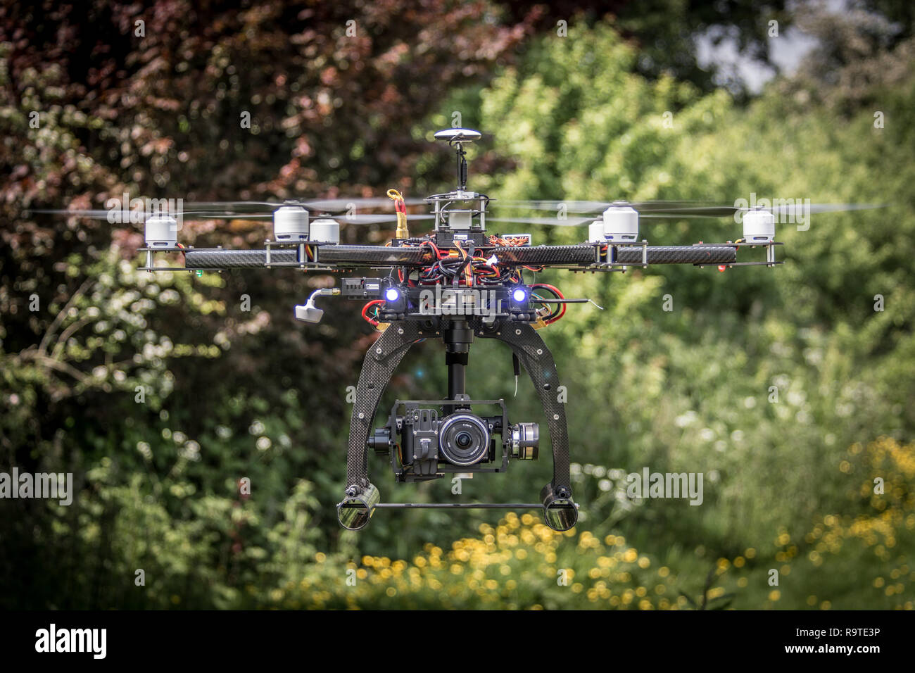 Hexecopter flying - Stock Image