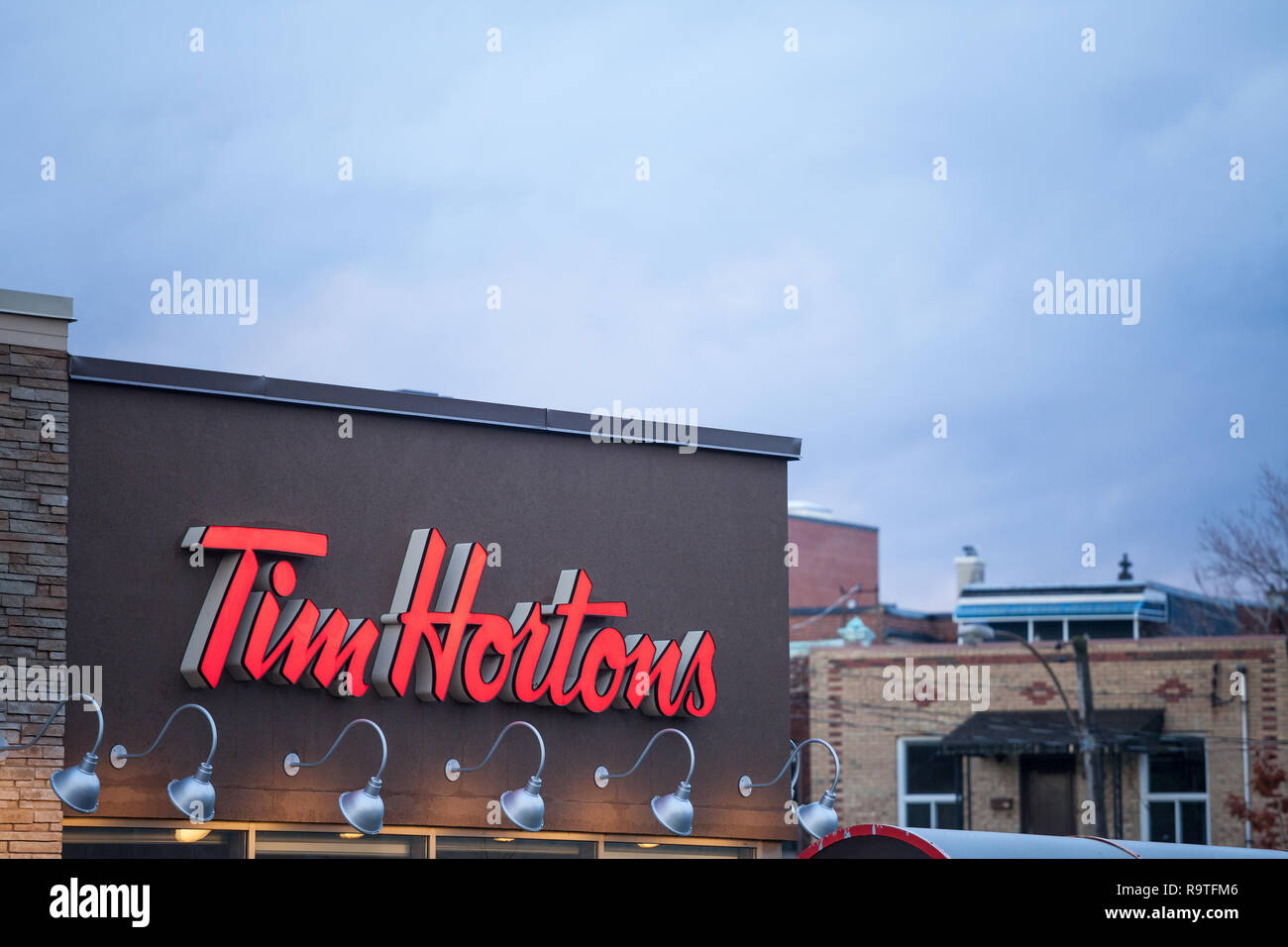 Montreal Canada November 6 2018 Tim Hortons Logo In