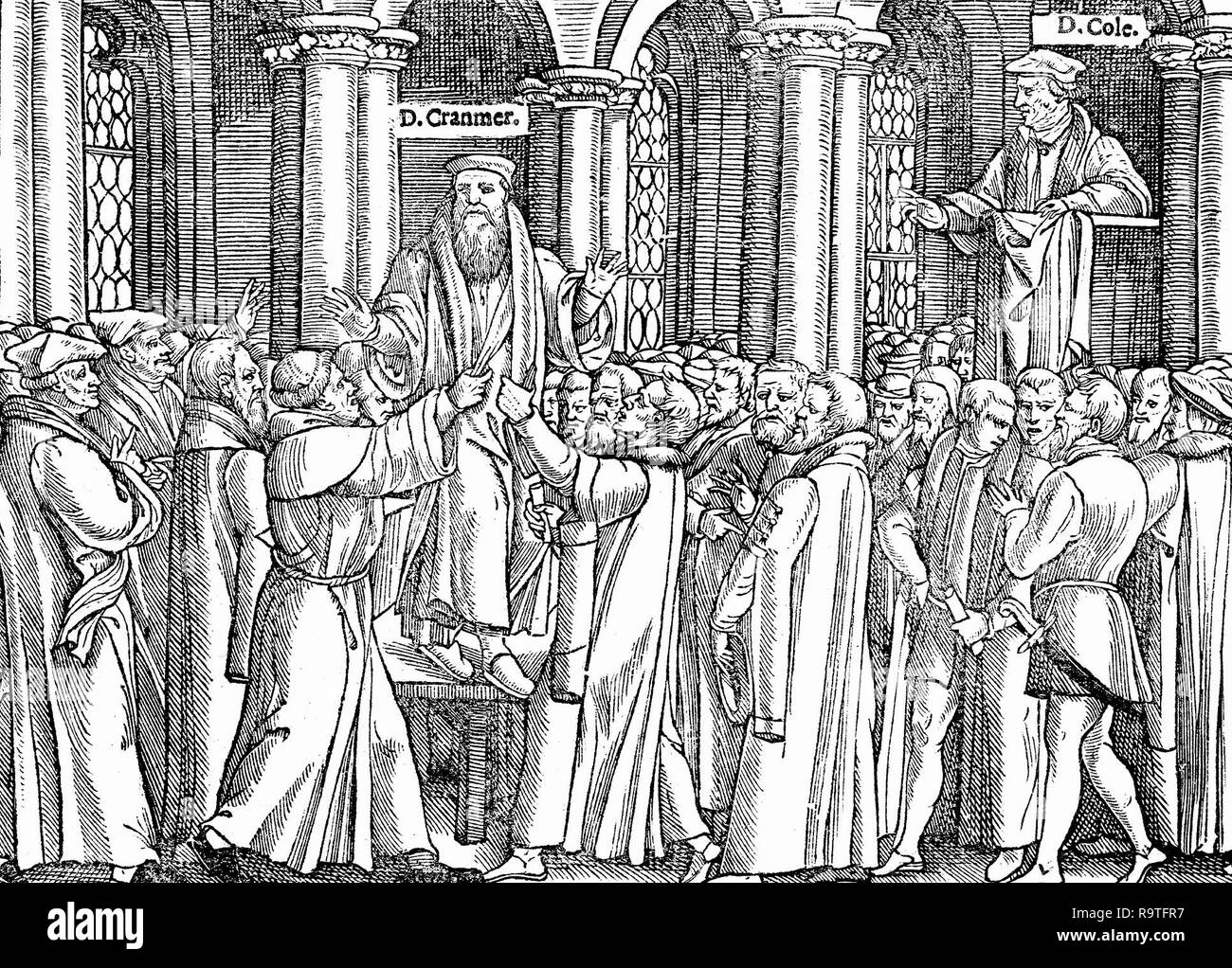 The persecution of Dr. Thomas Cranmer, a leader of the English Reformation. 1580 - Stock Image