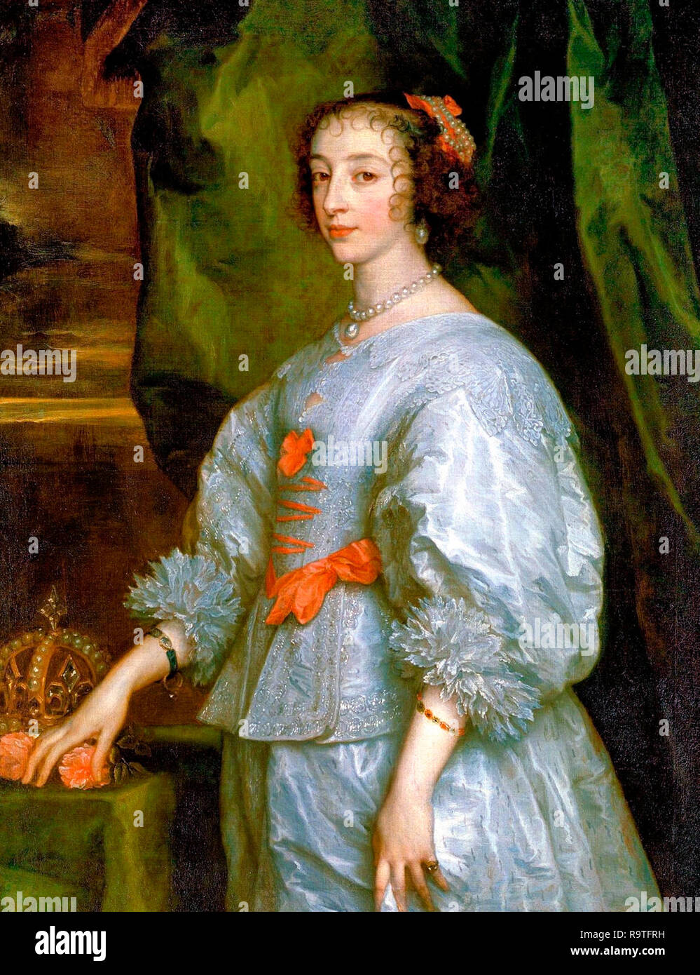 Princess Henrietta Maria of France, Queen consort of England. This is the first portrait of Henrietta Maria painted by Anthony van Dyck in 1632. - Stock Image