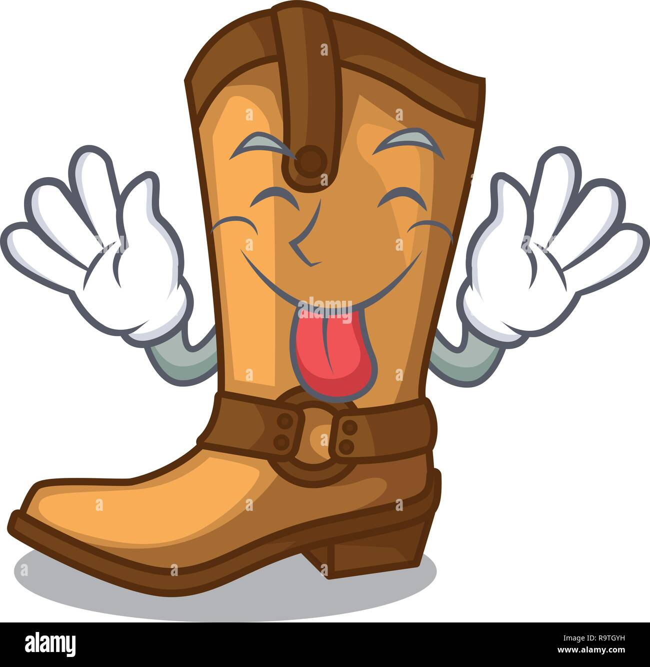 Tongue out leather cowboy boots shape cartoon funny - Stock Vector