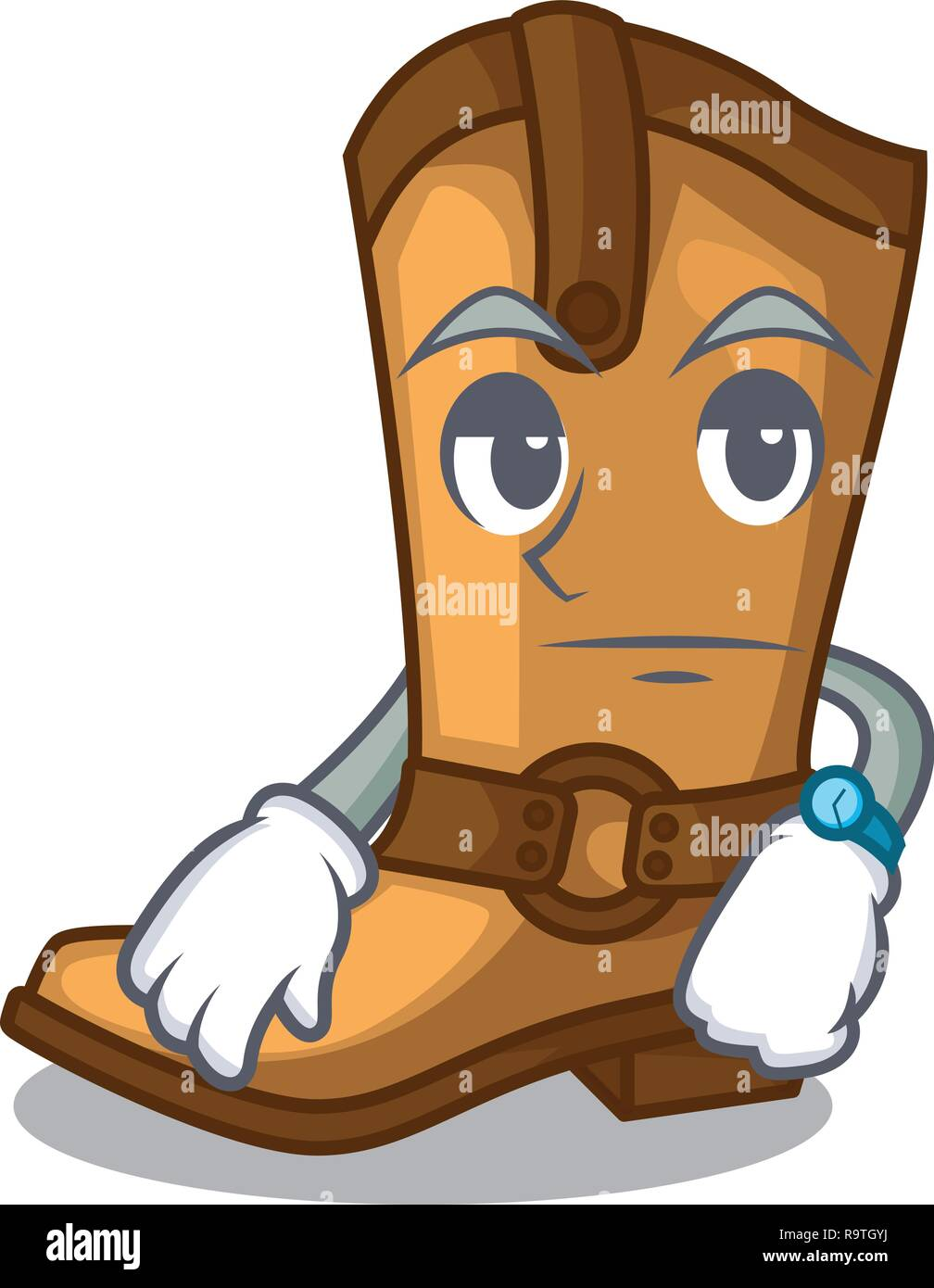 Waiting leather cowboy boots shape cartoon funny - Stock Vector