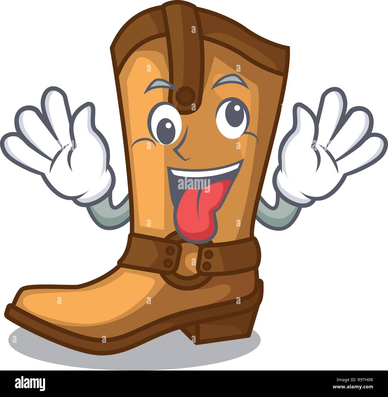 Crazy leather cowboy boots shape cartoon funny - Stock Vector