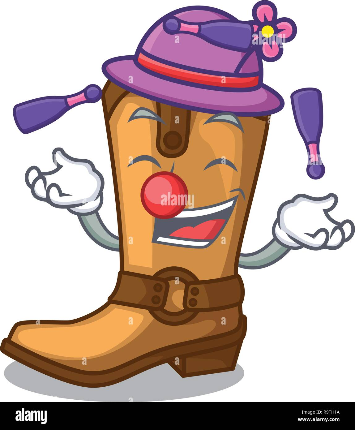 Juggling leather cowboy boots shape cartoon funny - Stock Vector