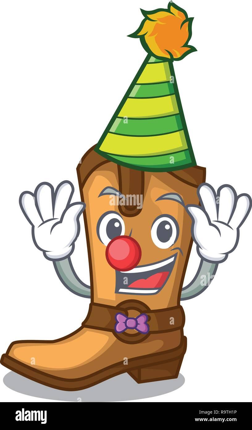 Clown leather cowboy boots shape cartoon funny - Stock Vector