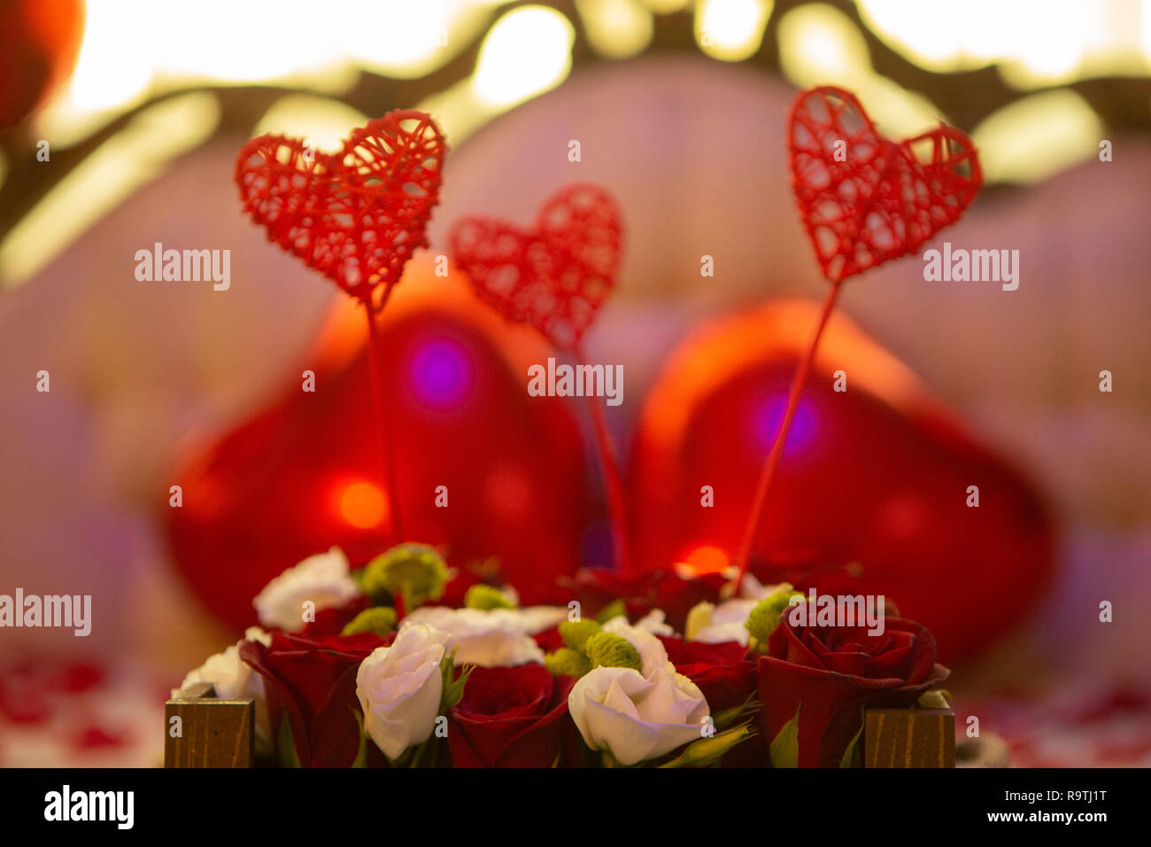 Romantic wedding anniversay  Decoration Stock Photo