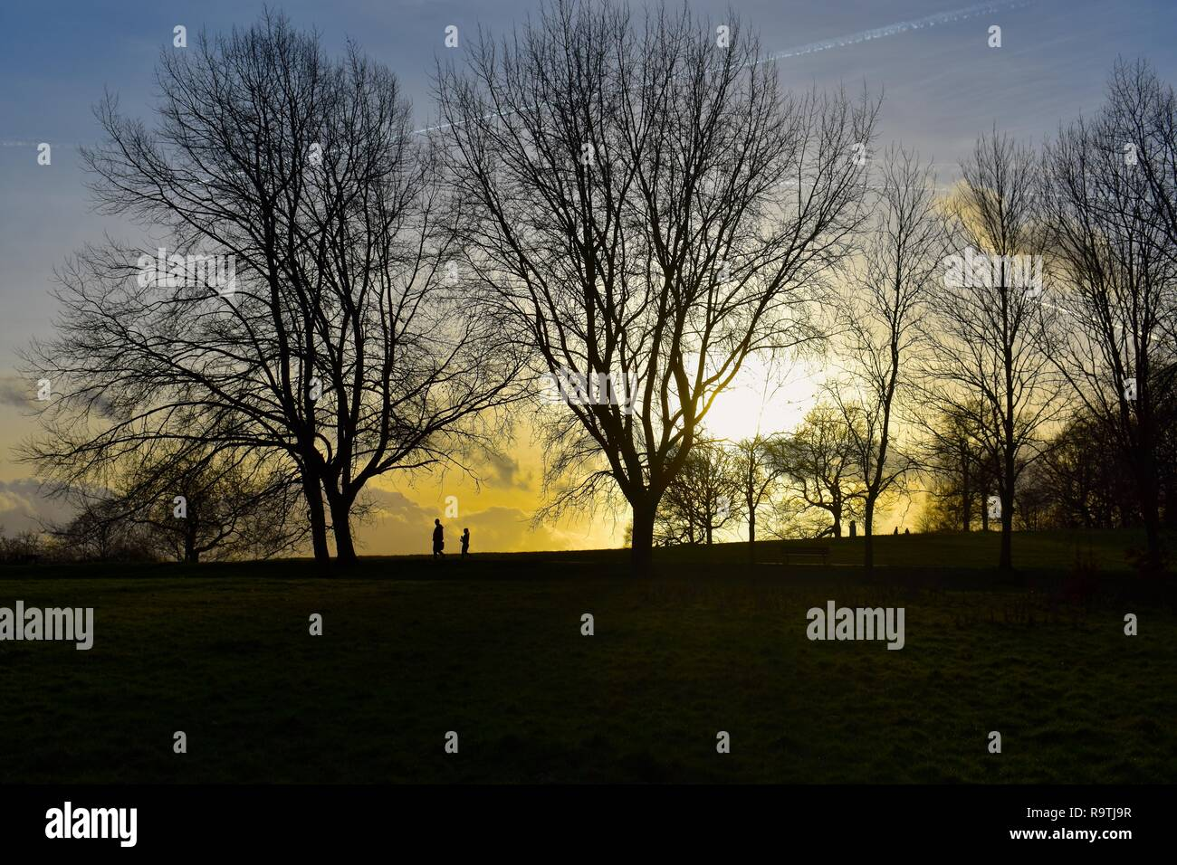 Beautiful sunset landscape on a cold winter evening at Hampstead Heath in North London. Two people are seen in the distance. - Stock Image