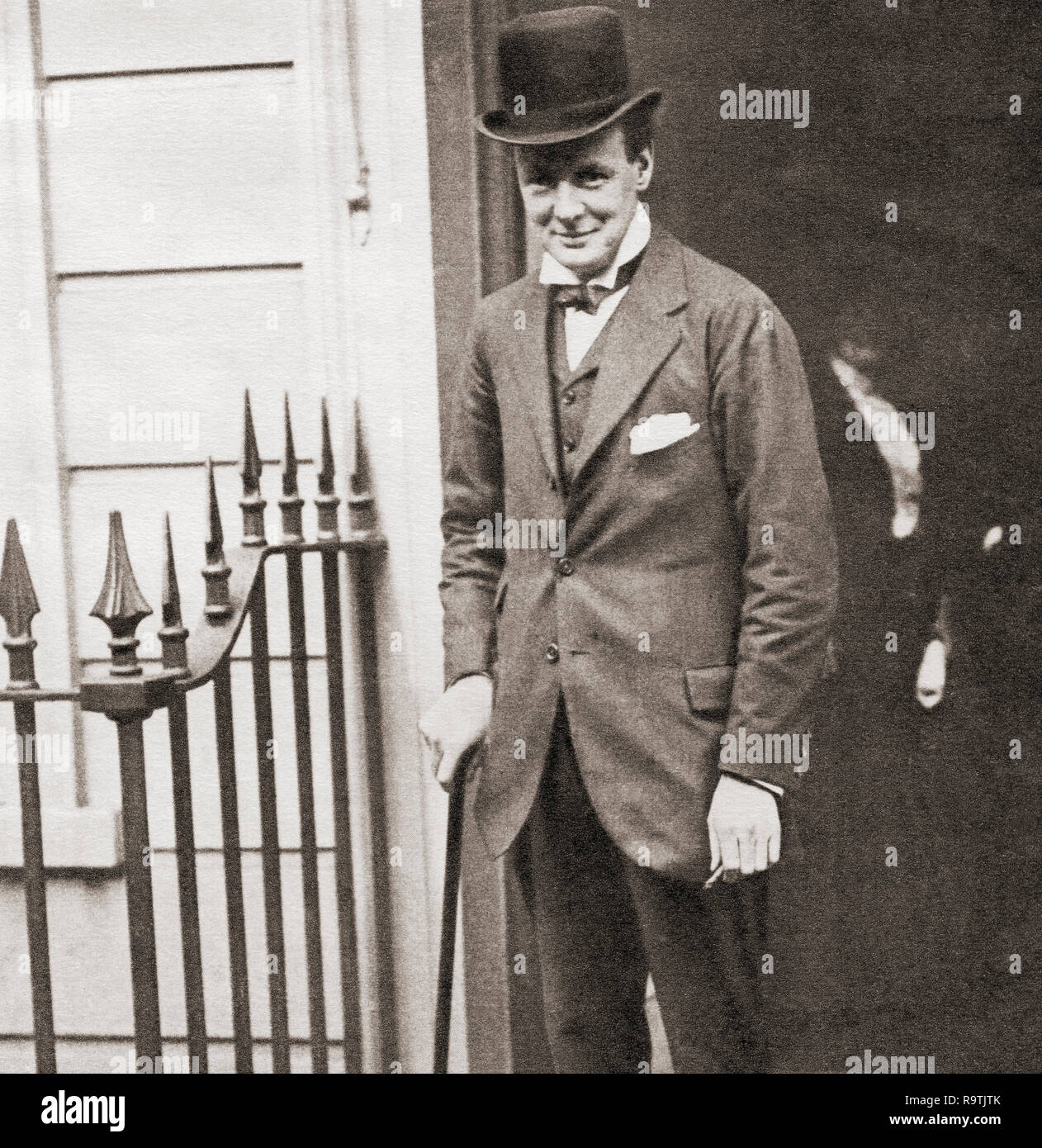 Winston Churchill seen here in 1908 at No.10 Downing Street, London, England.  Sir Winston Leonard Spencer-Churchill, 1874 –1965. British politician, statesman, army officer, and writer, who was Prime Minister of the United Kingdom from 1940 to 1945 and again from 1951 to 1955. - Stock Image